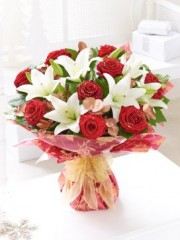 Christmas Rose and Lily Hand-tied
