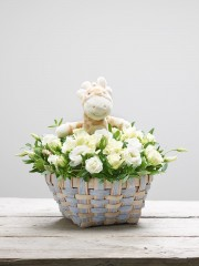 White Kisses Baby Basket