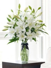 Luxury White Oriental Lily Vase`